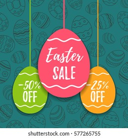 Easter sale offer, banner template. Colored eggs with lettering, isolated on blue seamless background. Easter paper eggs sale tags. Spring Shop market poster design. Vector