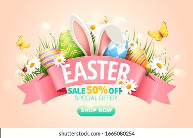 Easter sale popup ads with bunny's ear and Easter eggs in grass on pink background