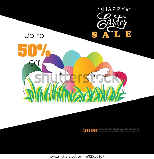 Easter sale poster background template with egg. Vector illustration.