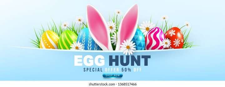 Easter Sale poster and banner template with Easter Eggs and flower on blue.Greetings and presents for Easter Day.Promotion and shopping template for Easter Day.Vector illustration EPS10