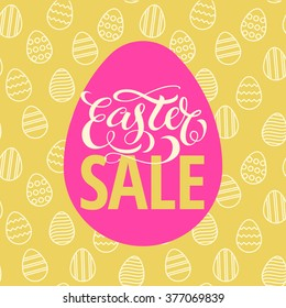 Easter Sale Poster design with seamless easter eggs pattern on background. Vector Illustration template