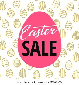 Easter Sale Poster design with seamless easter egg pattern on background. Vector Illustration template