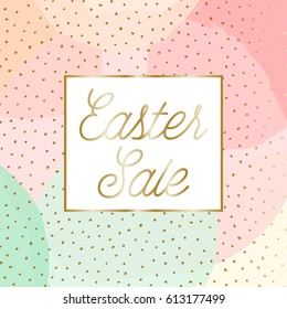"Easter sale poster/brochure design with text ""Easter Sale"" in gold and colorful pastel pink, green, orange and yellow bubbles in the background."