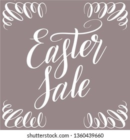 Easter Sale. Square illustration with white script lettering and ornament on corners. Handwriting calligraphic inscription. Isolated cursive and decoration. Vector.