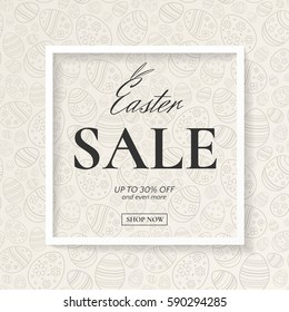 Easter sale stylish poster with frame and seamless pattern of ornamental eggs. Vector template for design flyers and banners with discounts offers