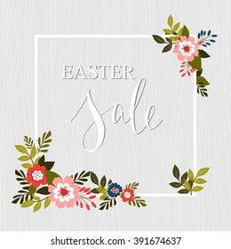 Easter sale text with frame and flower decorative elements. Hand drawn botanical elements. Vector illustration.