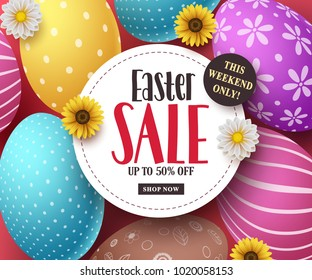 Easter sale vector banner with colorful easter eggs, flowers and sale text in white space. Easter background template design for market discount promotion. Vector illustration.