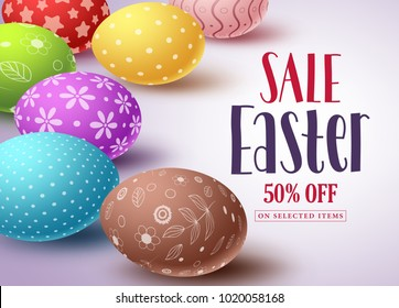 Easter sale vector banner design and template with colorful eggs and sale text in white background for easter celebration shopping discount promotion. Vector illustration.