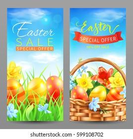 Easter sale vertical banners. Vector set.