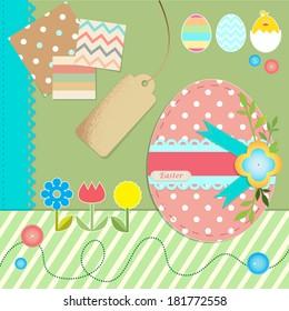 Easter scrapbook elements. Vector illustration.