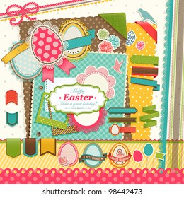 Easter scrapbook elements. Vector illustration.