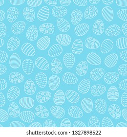 Easter seamless background with eggs. Gift card egg ornament, pattern. Spring season holidays.