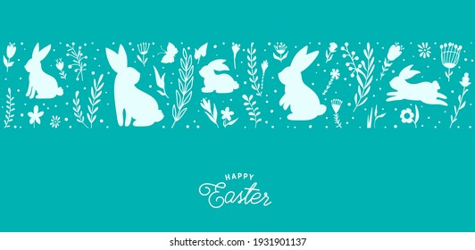 Easter seamless border vector illustration. Holiday pattern with bunnies, flowers, plants silhouettes isolated on blue background. Simple flat style.