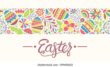 Easter Seamless Ornament Line with Eggs and Flowers Isolated on Beige Background