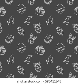 Easter Seamless pattern background vector black
