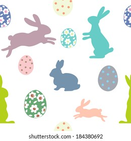 Easter seamless pattern with bunnies and eggs