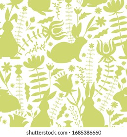 Easter seamless pattern with bunnies silhouette, flowers and leaves. Texture for textile, postcard, wrapping paper, packaging etc. Vector illustration.