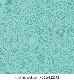 Easter seamless pattern with flat line icons of painted eggs. Egg hunt vector illustrations, christianity traditional celebration wallpaper. Blue color.