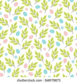 Easter seamless pattern with flowers, branches and eggs. Perfect for wallpaper, gift paper, pattern fills, web page background, spring and Easter greeting cards
