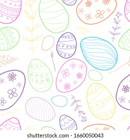 Easter seamless pattern with hand drawing holiday eggs on white background. For greeting cards and creative decorate. Vector EPS10