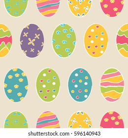 Easter seamless pattern with holiday eggs.Perfect for wallpaper, gift paper, pattern fills, web page background, spring and Easter greeting cards.