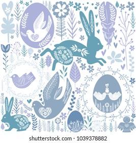 Easter seamless pattern in Scandinavian style. Editable vector illustration