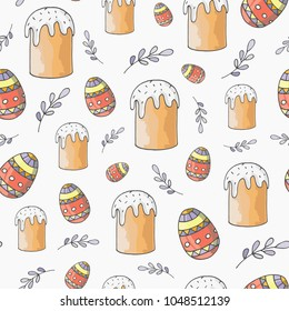 Easter  seamless pattern in sketched style.  Happy Easter Day seamless background. Hand drawn vector illustration. EPS 10