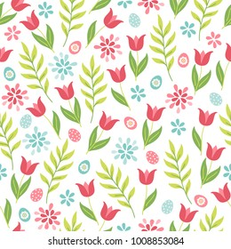 Easter seamless pattern with tulips, branch, eggs, leaves and flowers. Perfect for wallpaper, gift paper, web page background, spring greeting cards
