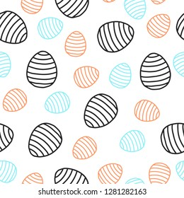 Easter seamless pattern for wrapping paper, vector pattern with colored eggs