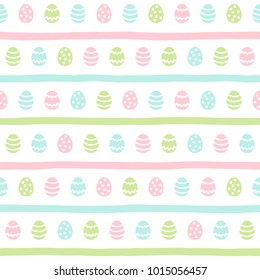 Easter seamless vector pattern. Painted stylized tiny eggs and doodle style uneven stripes, streaks, bars regular texture. Simple Easter background. Soft pastel colors template.