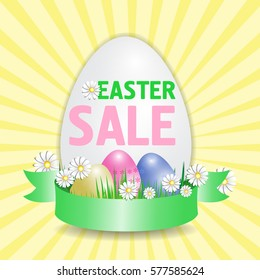 Easter selling poster in the shape of an egg with an elegant ribbon. Vector illustration.
