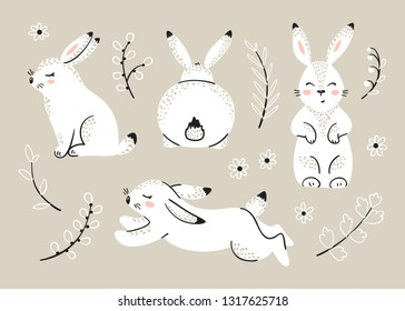 Easter Set with Bunnies. Spring or Summer Floral Elements with Little Rabbits. Cute Bunny with Leaves and Flowers. Hares Vector Illustration