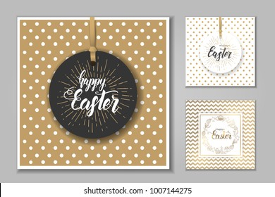 """Easter set of cards with paschal hand drawn symbols, hand made trendy lettering """"Happy Easter"""" on golden and white pattern. Banner, flyer, brochure. Background for holidays, postcards, website."""