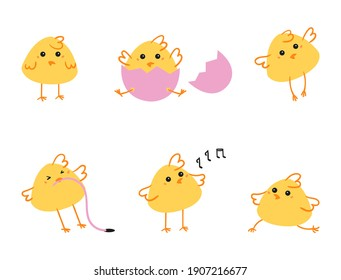 Easter set of chickens. Set of cute cartoon farm chickens isolated on white background. Farm bird in trendy flat style. Vector illustration design for cards, stickers, prints.