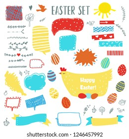 Easter set with eggs, chicken, frames, labels and floral elements for design. Vector graphic illustration