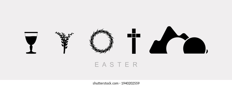Easter, set of icons on a gray background. Wine bowl, willow, wreath of thorns and cross.