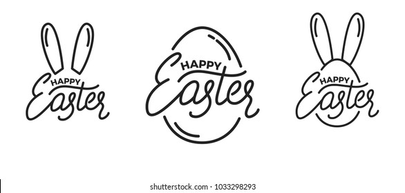Easter. Set of Label badge emblems for Easter. Easter lettering and linear graphics
