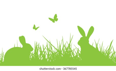 easter silhouette bunnies in grass