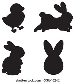 Easter silhouettes of cartoon characters on a white background