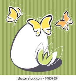 Easter simplified design with egg and butterflies