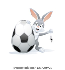 Easter sports greeting card. Cute Rabbit with Soccer Egg and Whistle. Vector illustration.