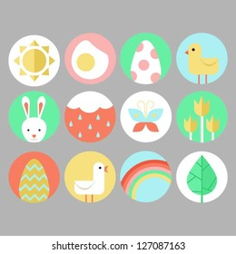 Easter and spring icon set