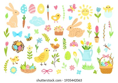 Easter spring set with cute bunnies, eggs, birds, bees, flowers, baskets, butterflies. Hand drawn elements. Vector illustration isolated on white background.
