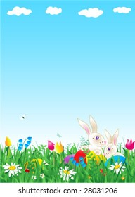 Easter and spring vertical vector background with bunnies, eggs, fresh green grass, wild flowers and large copy space ( for high res JPEG or TIFF see image 28031209 )
