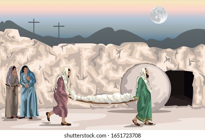 Easter Story- Joseph of Arimathea and Nicodemus Carrying Jesus's Body to the Tomb Watched By Two Women Vector