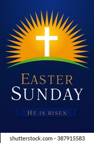 Easter Sunday, He is risen. Greetings, invite vector blue color template. Sunrise, open lighting empty cave, rock off, shining angel inside. Religious symbol and text. Jesus up from the death.