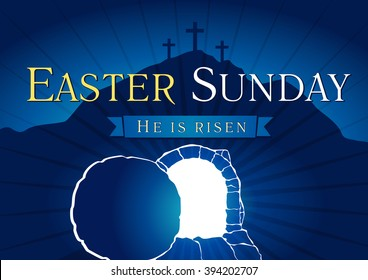 Easter Sunday, He is risen. Greetings, invite vector blue color template. Sunrise, open lighting empty cave, rock off, shining angel inside. Religious symbol. Jesus up from the death celebrating flyer