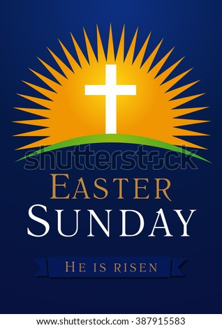 Easter sunday he risen greetings invite stock vector royalty free easter sunday he is risen greetings invite vector blue color template sunrise m4hsunfo