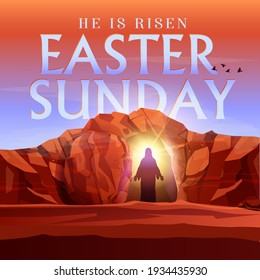 Easter Sunday he is risen vector illustration