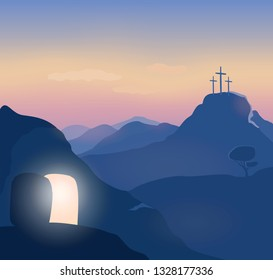 Easter sunday  morning. Opened glowing cave. Christ is risen. Golgotha background. Jerusalem landscape, mountains. Vector illustration.